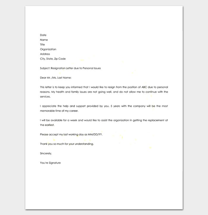 Resignation letter template 7 for word doc pdf format resignation letter for personal reasons thecheapjerseys Gallery