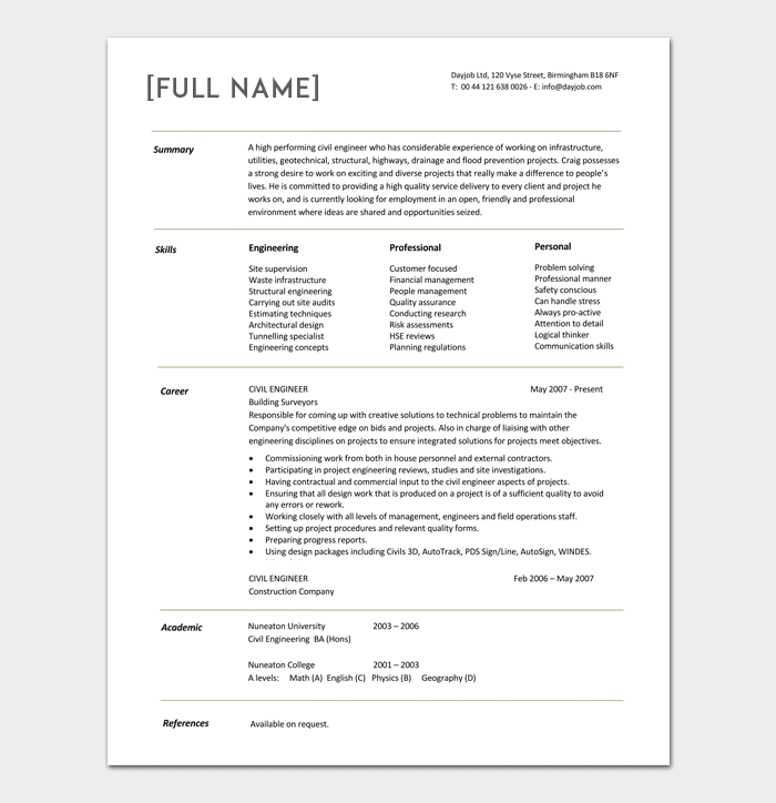 sample resume for one year experienced software engineer - civil engineer resume template 5 samples for word pdf