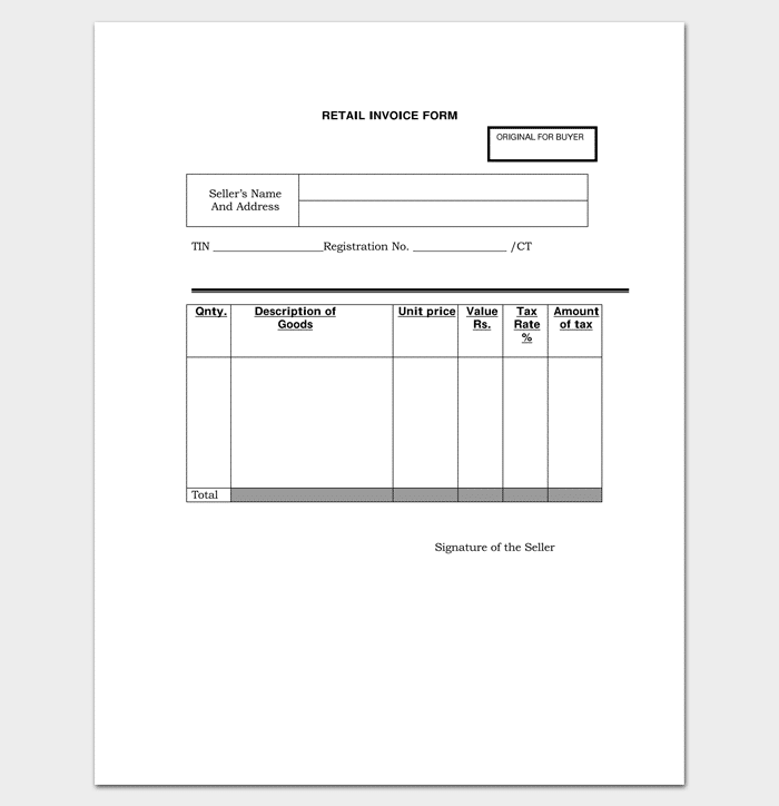 Retail Invoice Form In PDF Format  Format Invoice