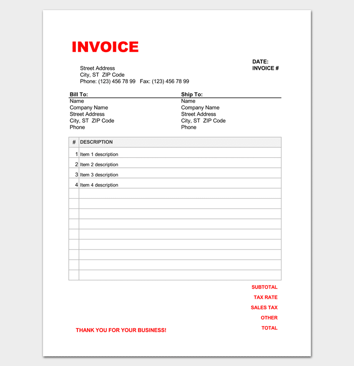 retail invoice template in excel