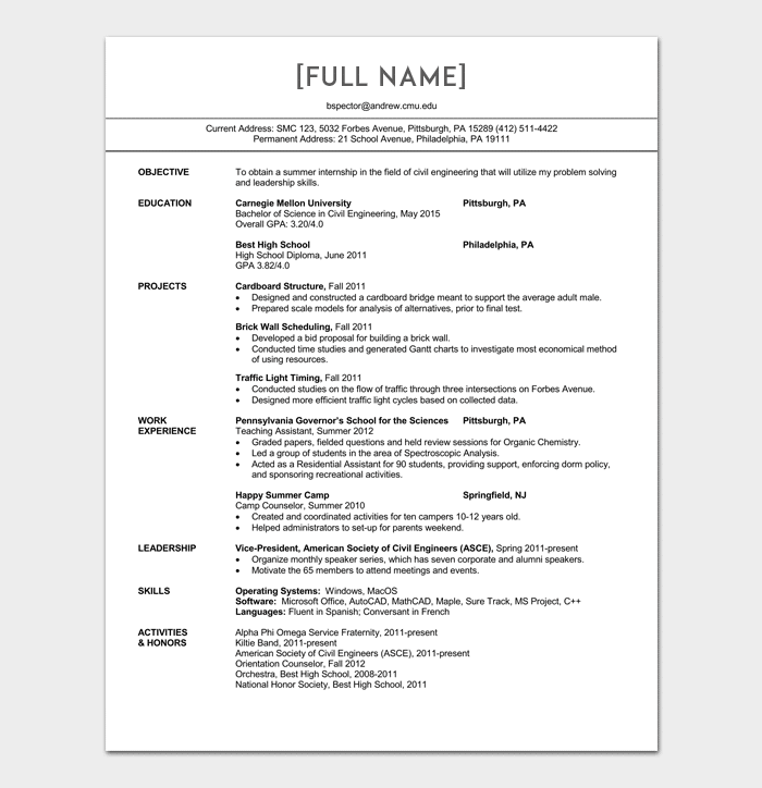 sample civil engineering resumes
