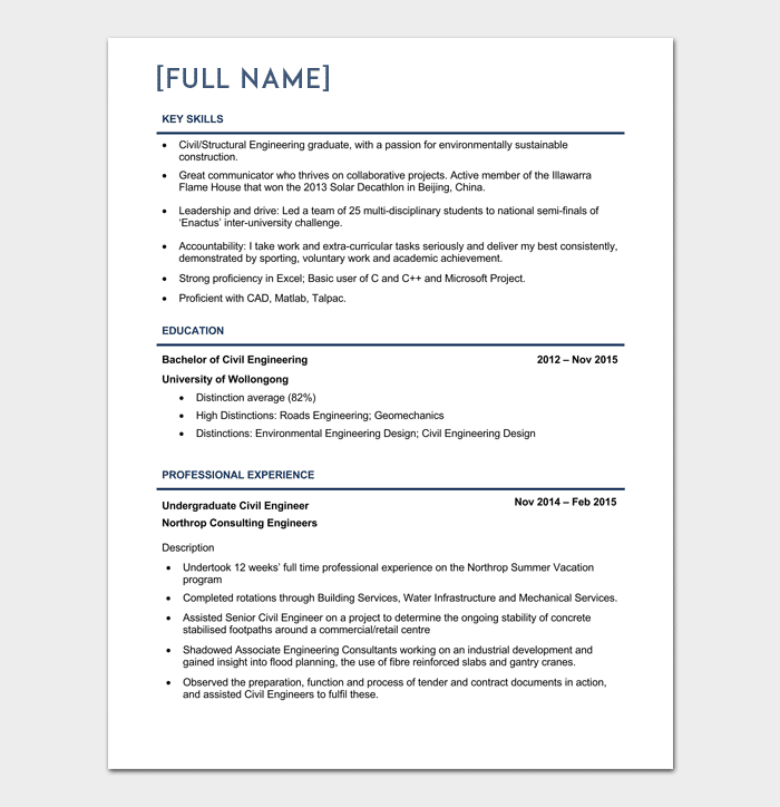 Civil Engineer Resume Template 5 Samples for Word PDF Format