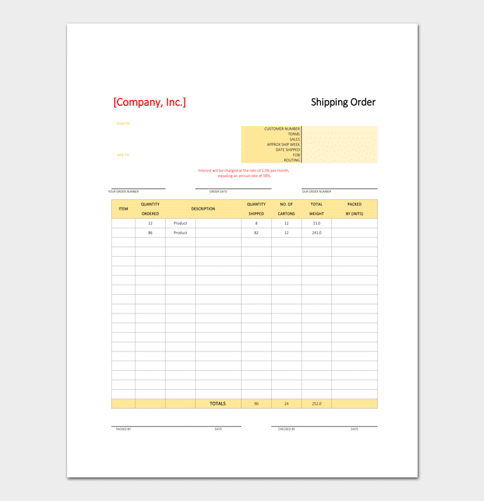 Shipping Line Delivery Order Format