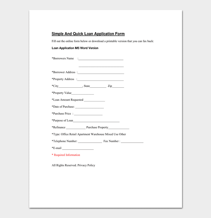 Mortgage Application Template 4 Fillable Forms For Word PDF – Simple Loan Form