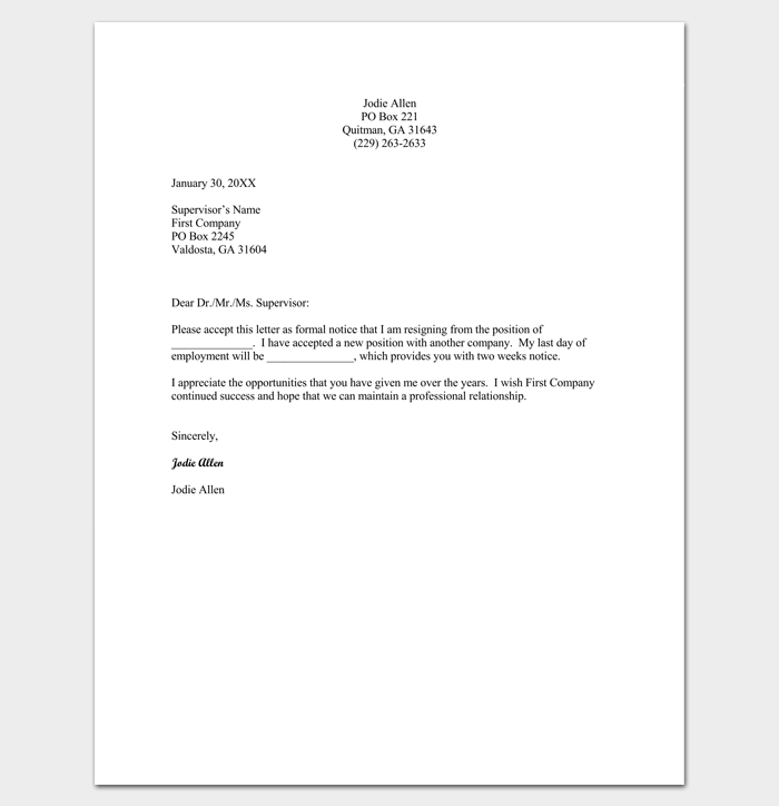 Resignation letter template format sample letters with tips simple resignation letter format expocarfo Images