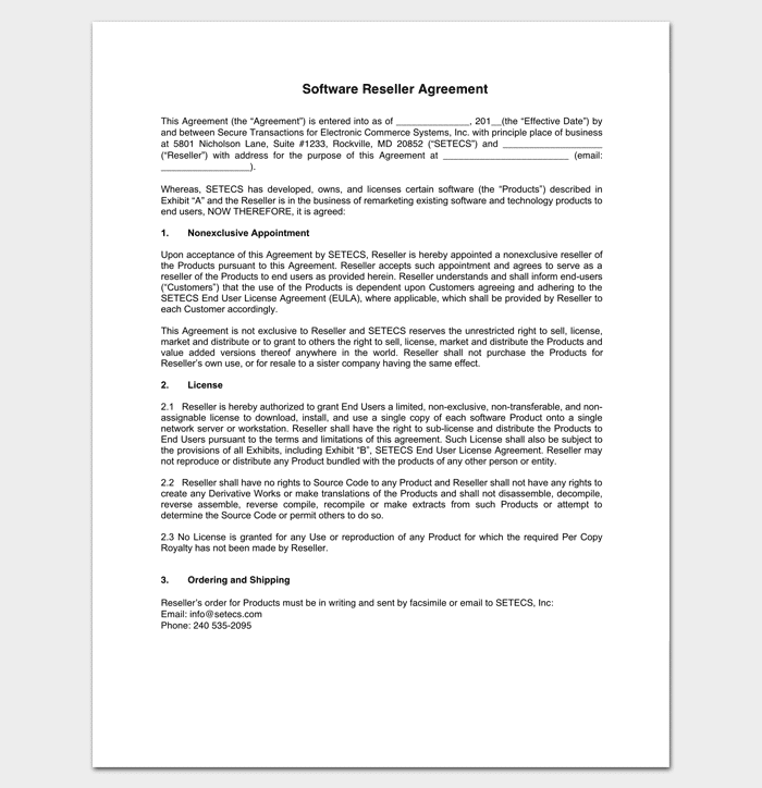 Software Reseller Agreement 1