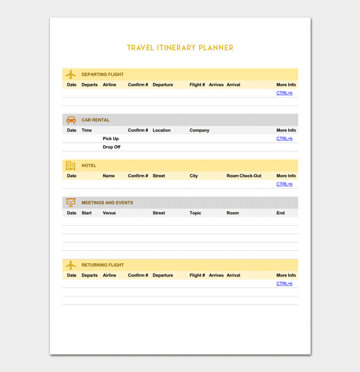 vacation itinerary template 5 planners for word doc pdf format
