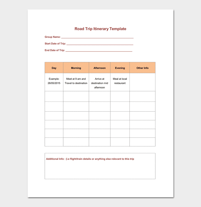 Travel Itinerary Template for Road Trip