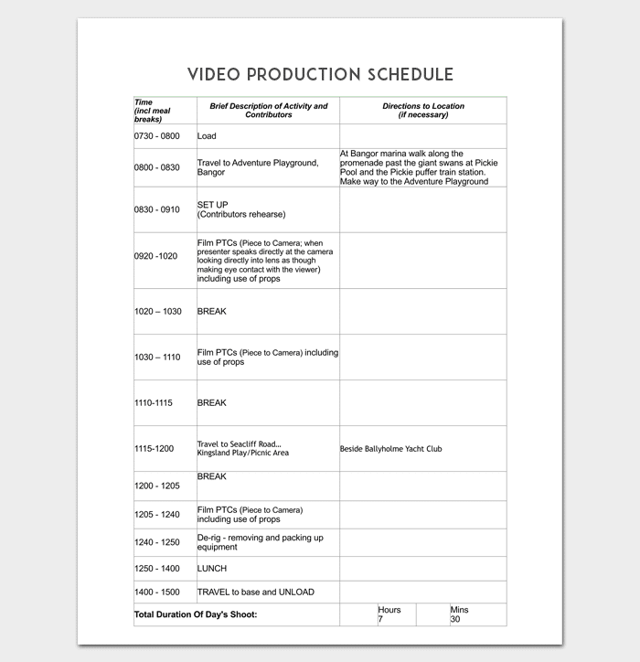Production Schedule Template For PDF Word Doc Excel - Video production timeline template