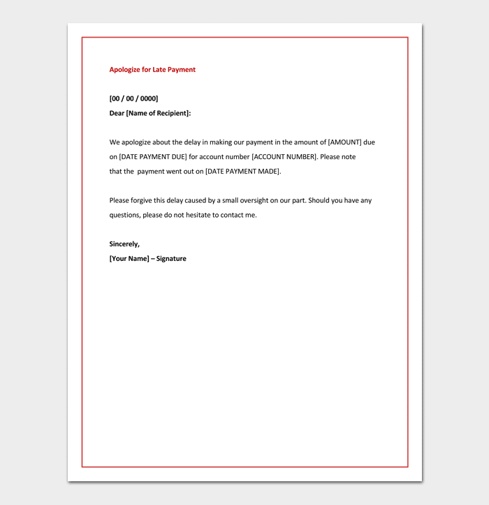 Apology letter template 33 samples examples formats apologize letter for late payment ccuart Gallery