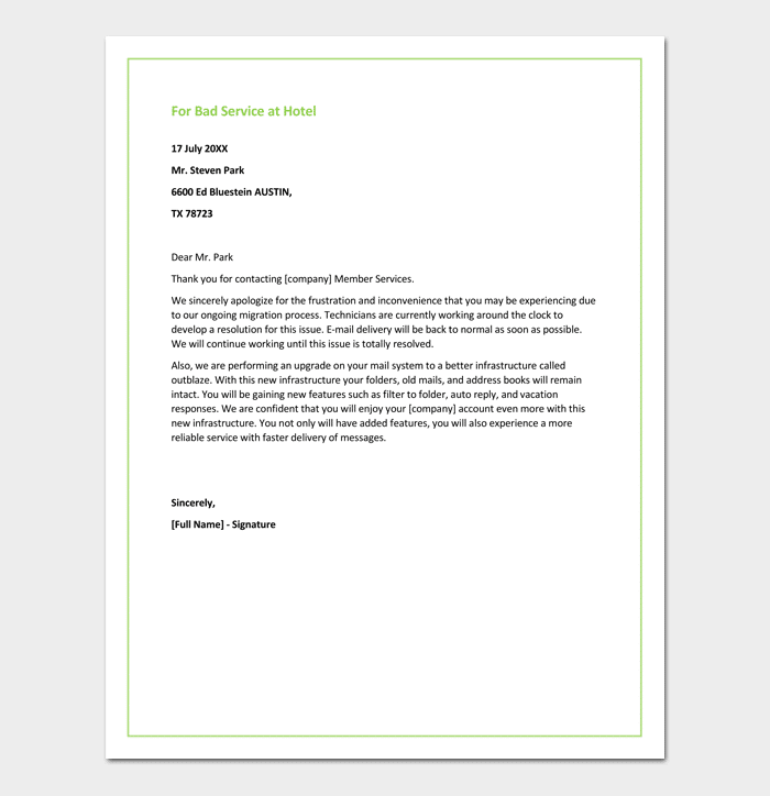 Apology Letter for Hotel Free Samples Fillable Formats