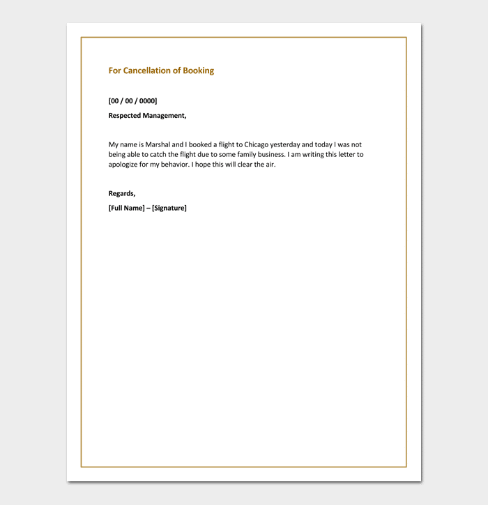 Apology letter for cancellation samples examples formats apology letter for cancellation of booking altavistaventures