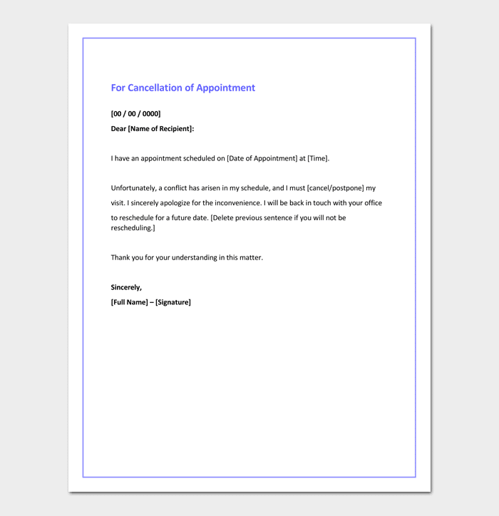 Apology letter for cancellation samples examples formats apology letter for cancellation of appointment thecheapjerseys Images