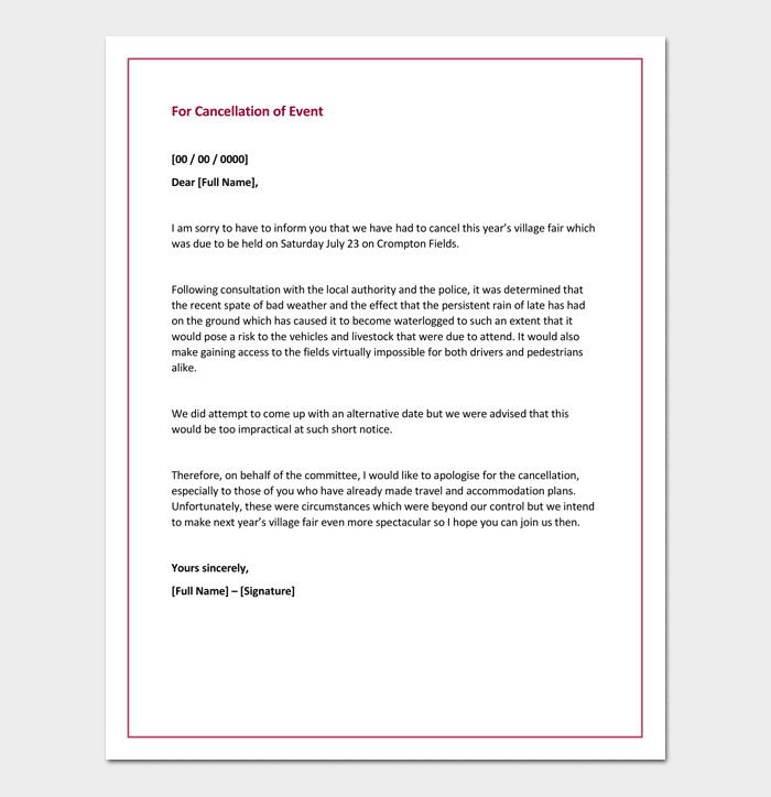 Apology Letter For Cancellation of Event
