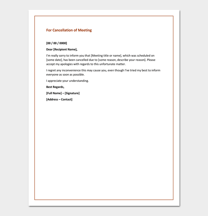 Apology Letter For Cancellation Samples Examples Formats