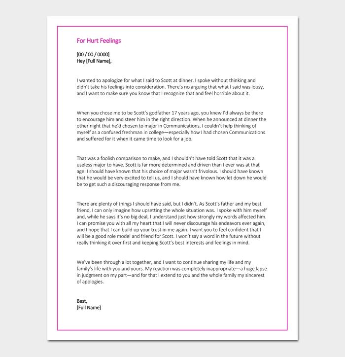 Apology Letter For Hurt Feelings