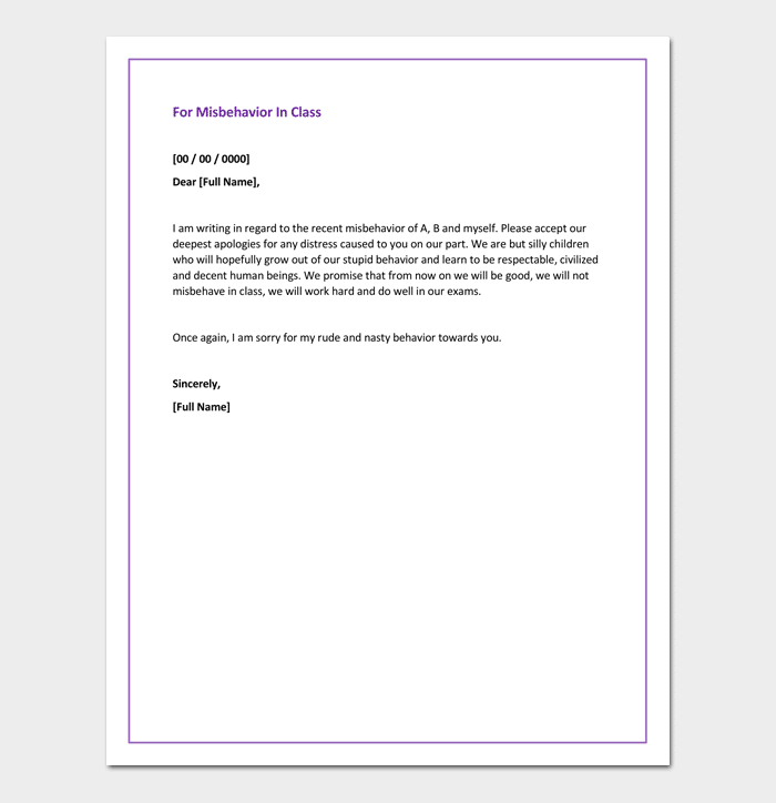 Apology letter for bad rude or unprofessional behavior 7 formats apology letter for bad behavior in class spiritdancerdesigns Choice Image