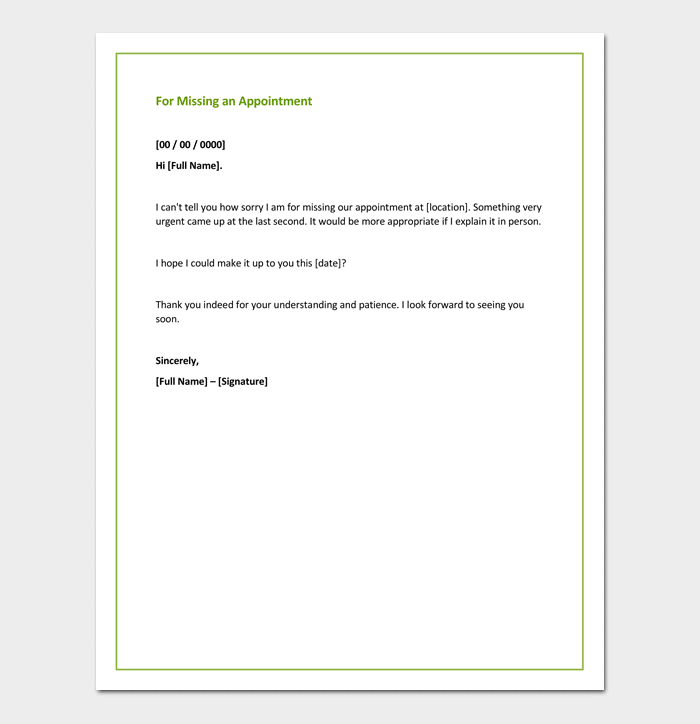 Apology Letter For Missing An Appointment