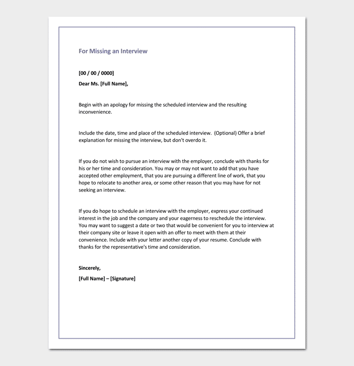 Apology Letter For Missing an Interview