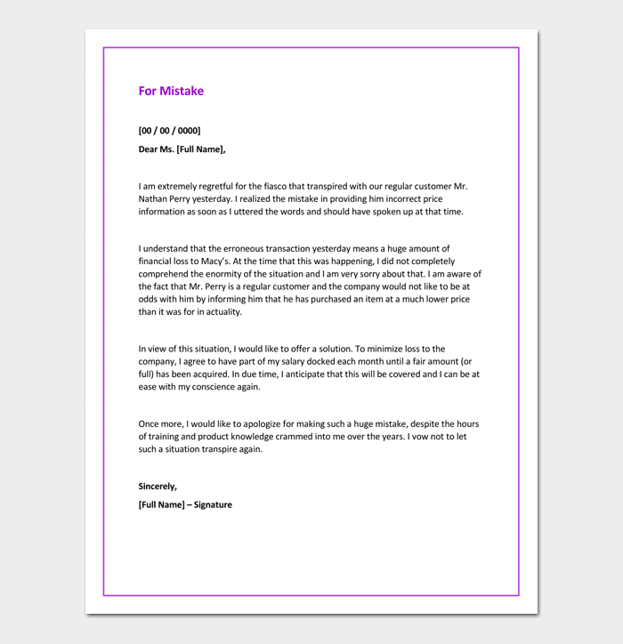 Business Apology Letter For A Mistake