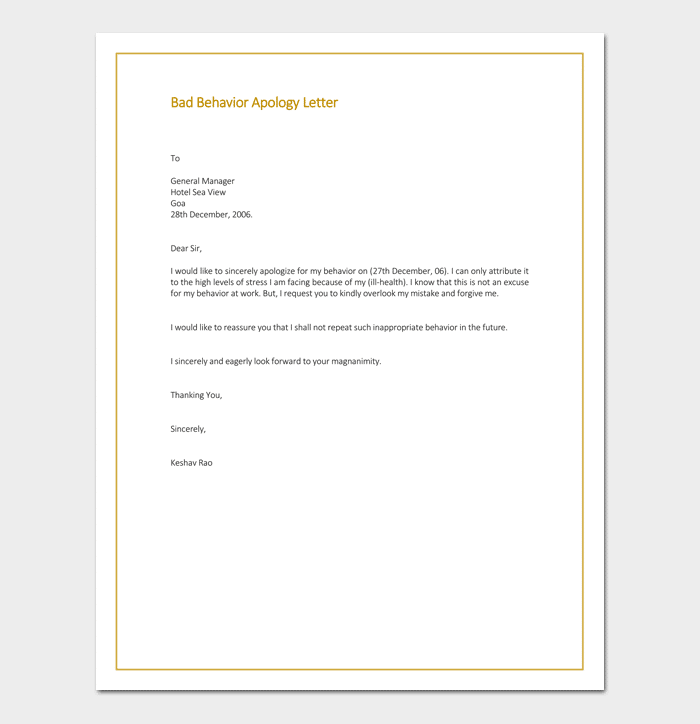 Apology Letter Sample For Bad Behavior  Example Of A Apology Letter
