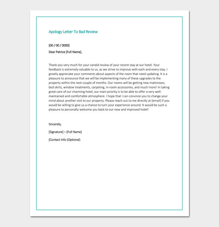 Apology Letter Template 33 Samples Examples Formats