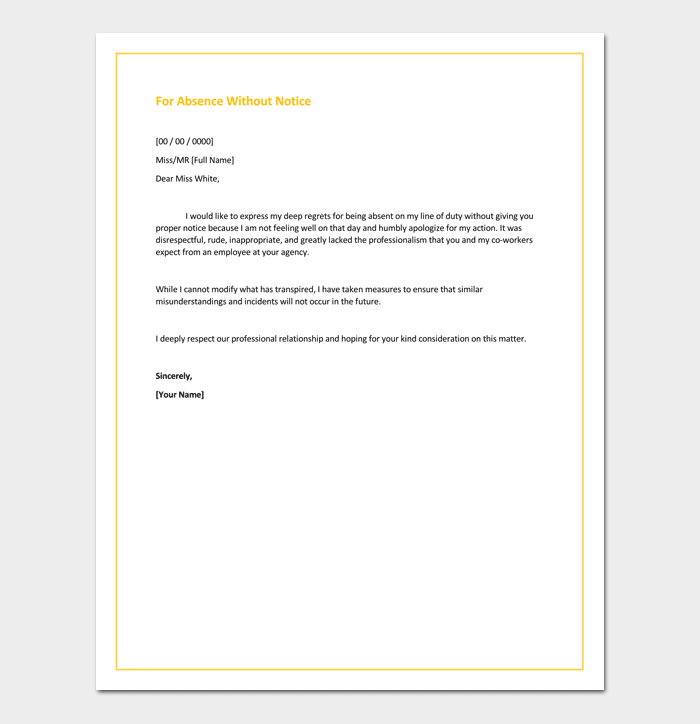 Apology Letter To Boss For Absence Without Notice