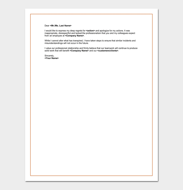 Apology Letter For Bad Rude or Unprofessional Behavior 7 Formats
