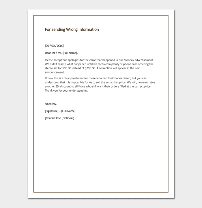 Apology Letter Template 33 Samples Examples Amp Formats