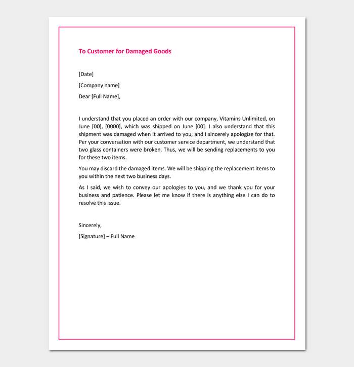 Apology Letter To Customer For Damaged Goods