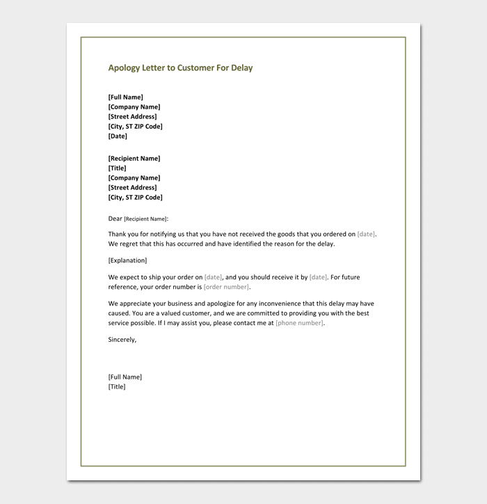 Apology Letter To Customer For Delay  Example Of Apology Letter To Customer