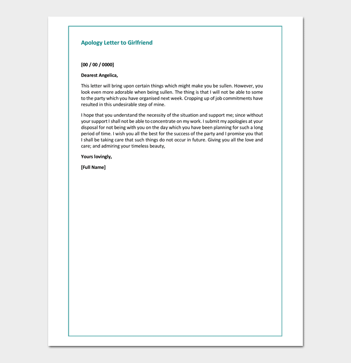 Apology Letter To Girlfriend