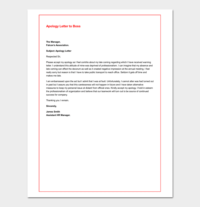 Apology Letter To Boss 7 Samples Blank Formats