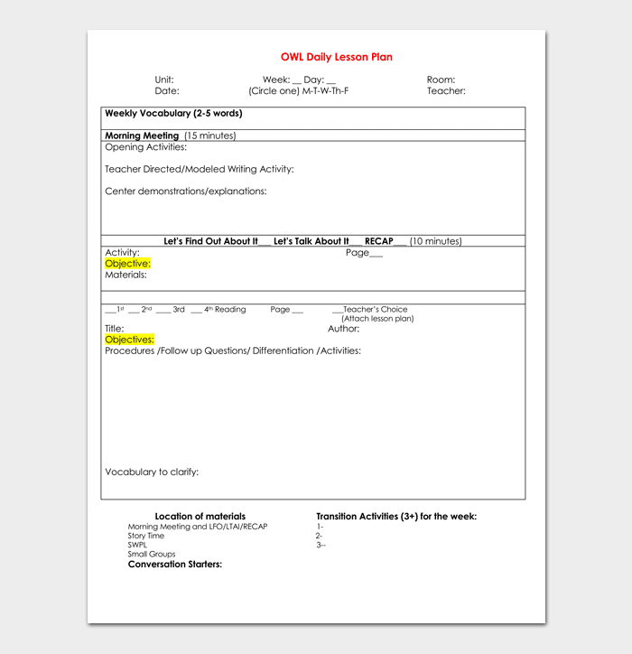 Blank Lesson Plan Template For Pre K