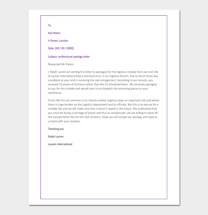Business Apology Letter For Inconvenience