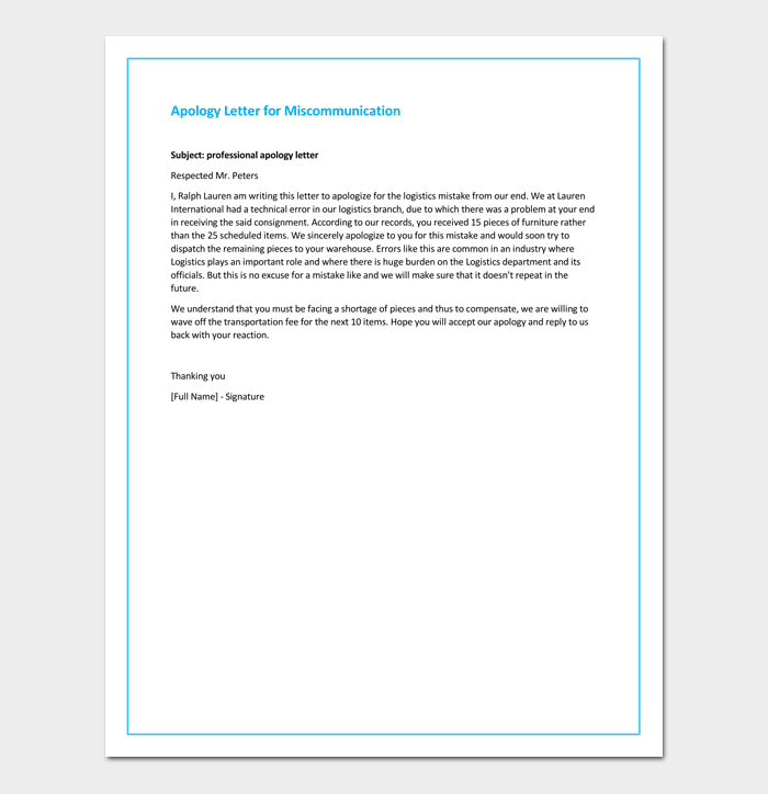 business apology letters