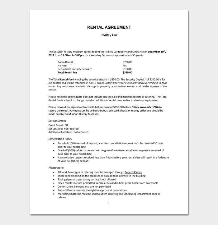 Rental Agreement Template 5 Fillable For Word Doc Pdf Format