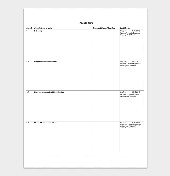 Construction Meeting Agenda Template 1