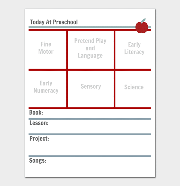 Daily Preschool Lesson Plan Template