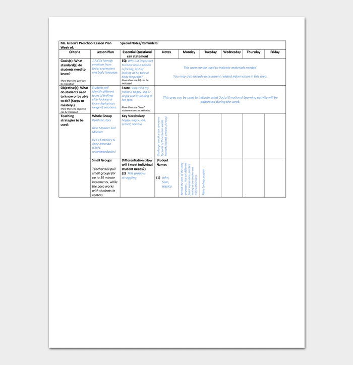 Preschool Lesson Plan Template Daily Weekly Monthly For Word - Language lesson plan template