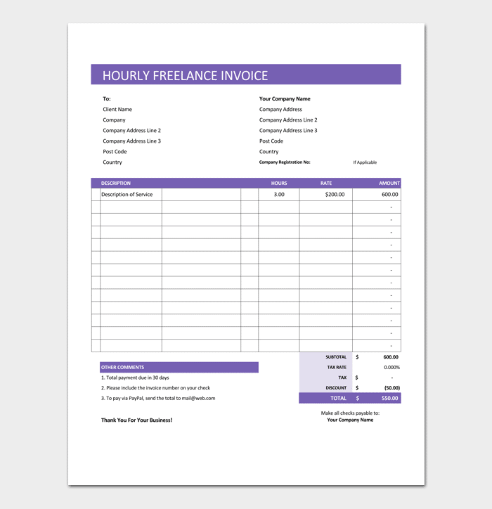 Freelance Hourly Invoice Template  Freelancer Invoice
