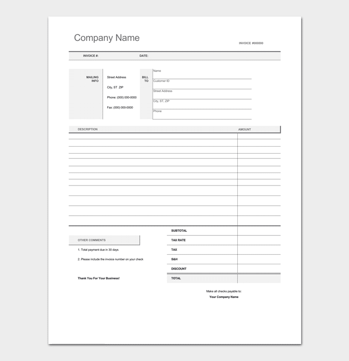 black invoice template