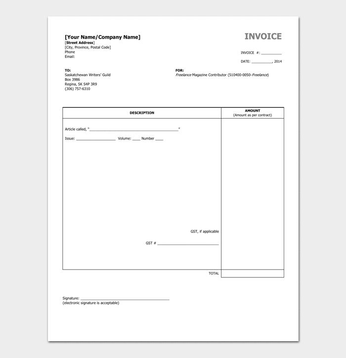 Charming Freelance Writer Invoice Template  Freelancer Invoice