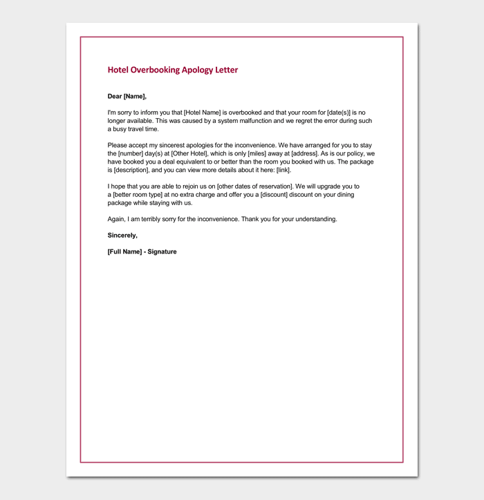 Apology Letter for Hotel Free Samples Fillable Formats – Apology Letter to School