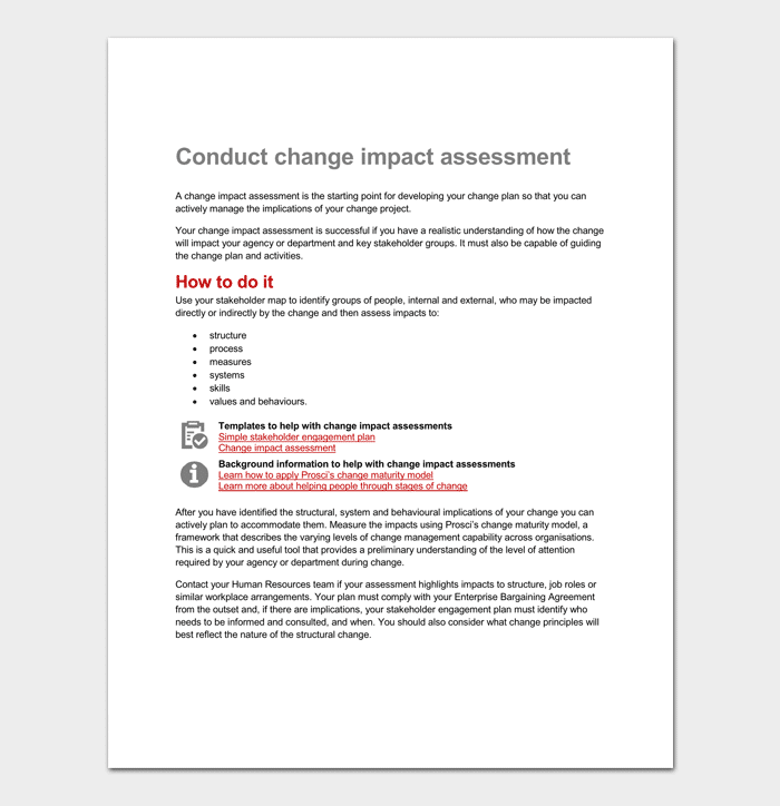 Impact assessment template 5 for word excel pdf for Change impact assessment template