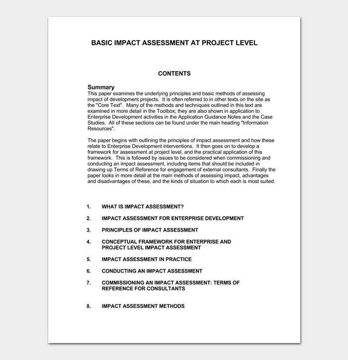 Impact Assessment Template for Project Management 02 1