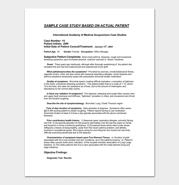 Case study template 5for word pdf format for Sample medical case study template