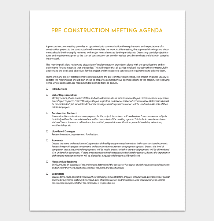 Construction Meeting Agenda Template For Word Pdf Format