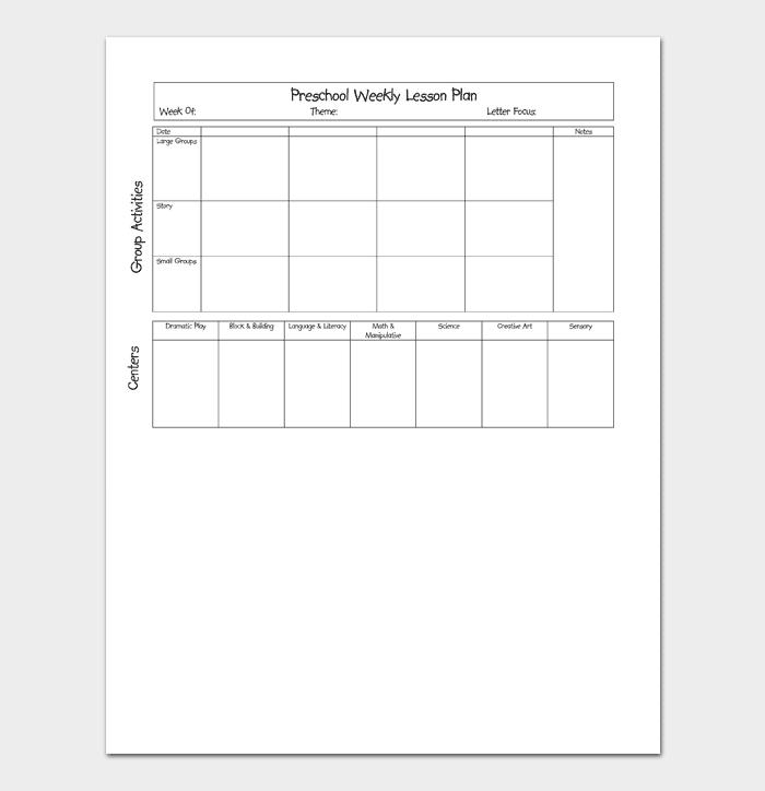 Preschool Weekly Lesson Plan 1