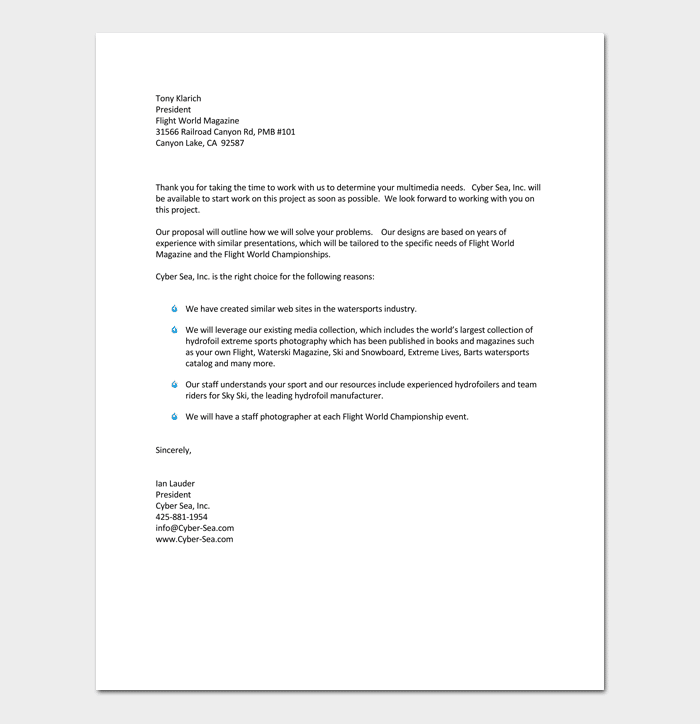 Proposal Letter For Project 1
